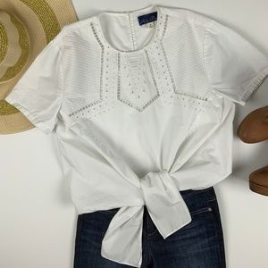Franesca's Blue Rain White Front Tie Eyelet Top